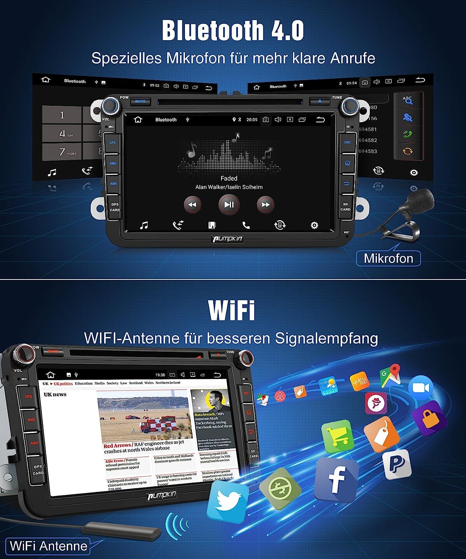 Pumpkin Android 8.0 4 GB Radio de Coche Reproductor de DVD para Volkswagen con Navi 8 Pulgadas de Pantalla admite Fast Boot Bluetooth Dab + WiFi 4 G ...