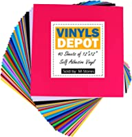 VinylsDepot 12X12 Adhesive Vinyl for Cricut vinyl projects, (40 Vinyl Sheets)