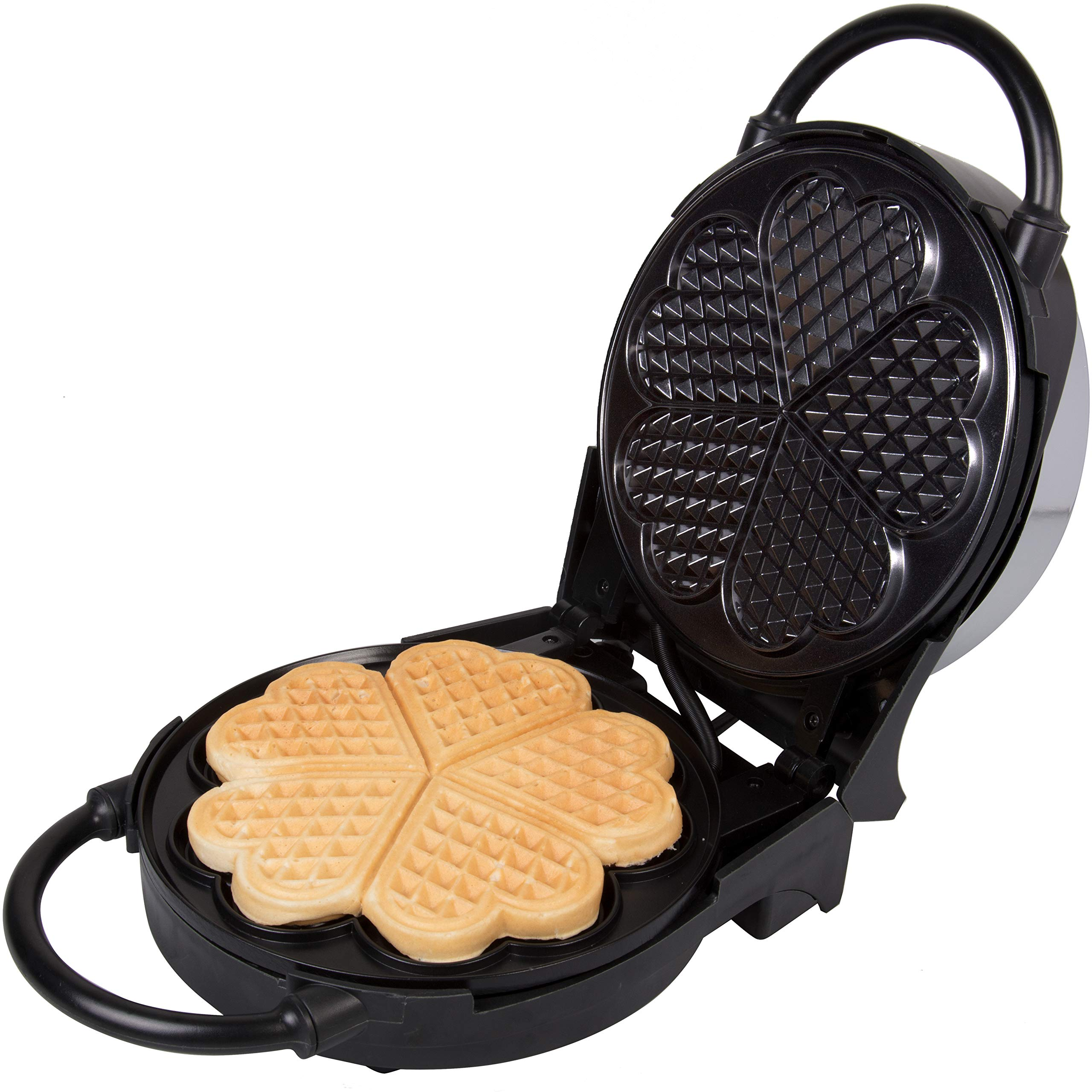 Heart Waffle Maker- Non-Stick 5-Heart Waffler Iron Griddle w Adjustable Browning Control