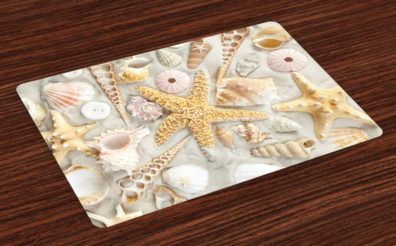 Ambesonne Shell Place Mats Set of 4, Assorted Seashells in Sandy Beach Summer Vacation Nautical Theme Coastal Photograph, Washable Fabric Placemats for Dining Room Kitchen Table Decoration, Multicolor