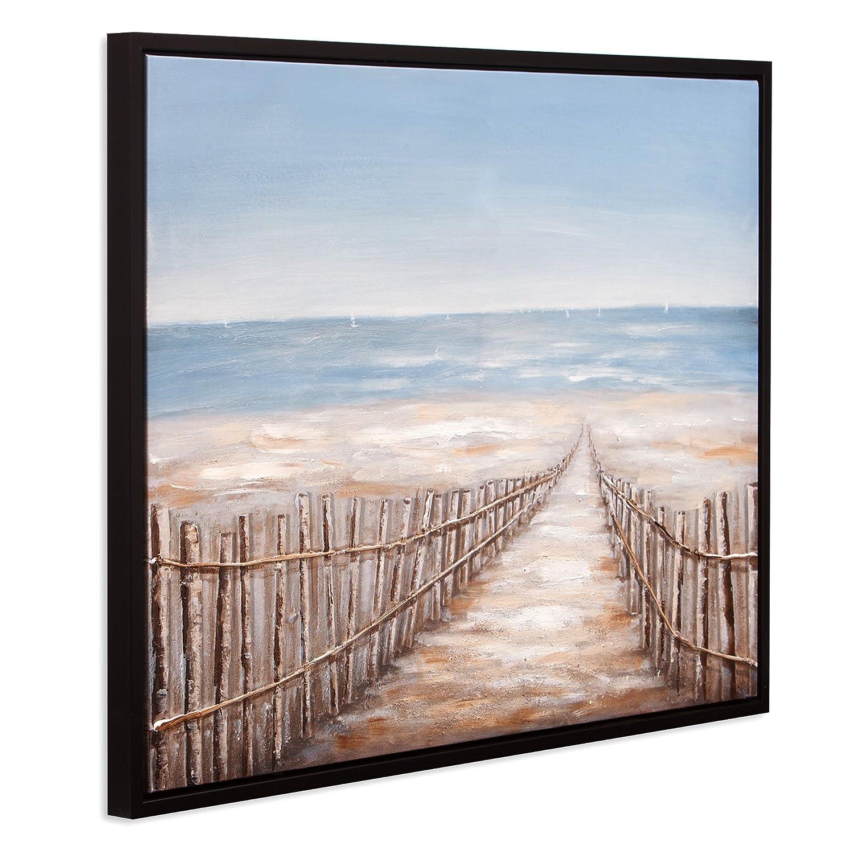 Patton Wall Decor Sand Dune Fence Coastal 30 x 38 Framed Canvas Art Black