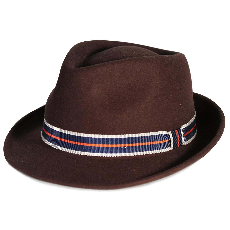 City Hunter Pmw83 Pamoa Wool Felt Fedora W//stripe Trim-brown