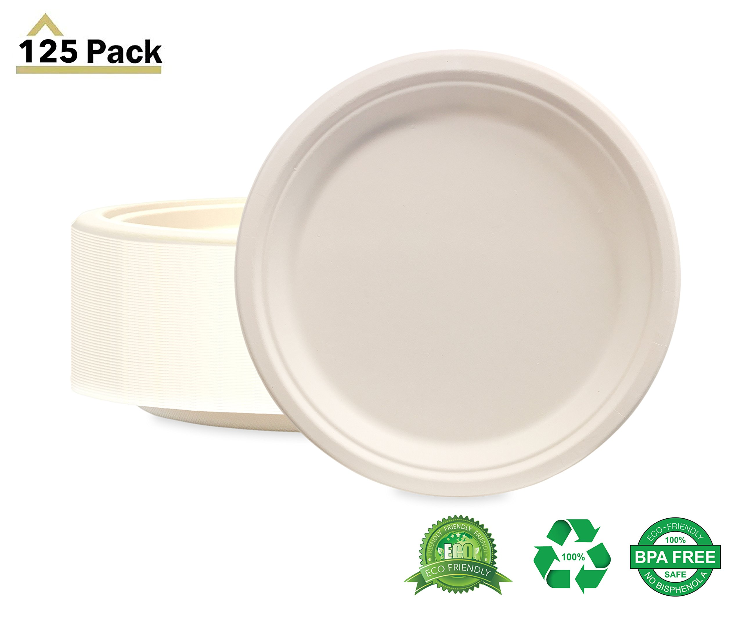 125 Pack of 10'' Round Organic Bagasse Plates Ecofriendly Disposable Dinner Plates for Picnic, Party, Catering & Everyday Use - Stock Your Home