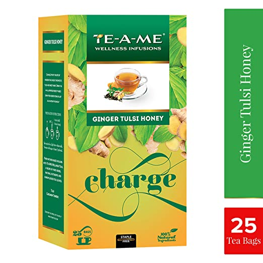 TE-A-ME Ginger Tulsi Honey Wellness Tea Pack of 25 Tea Bags Herbal Tea at amazon