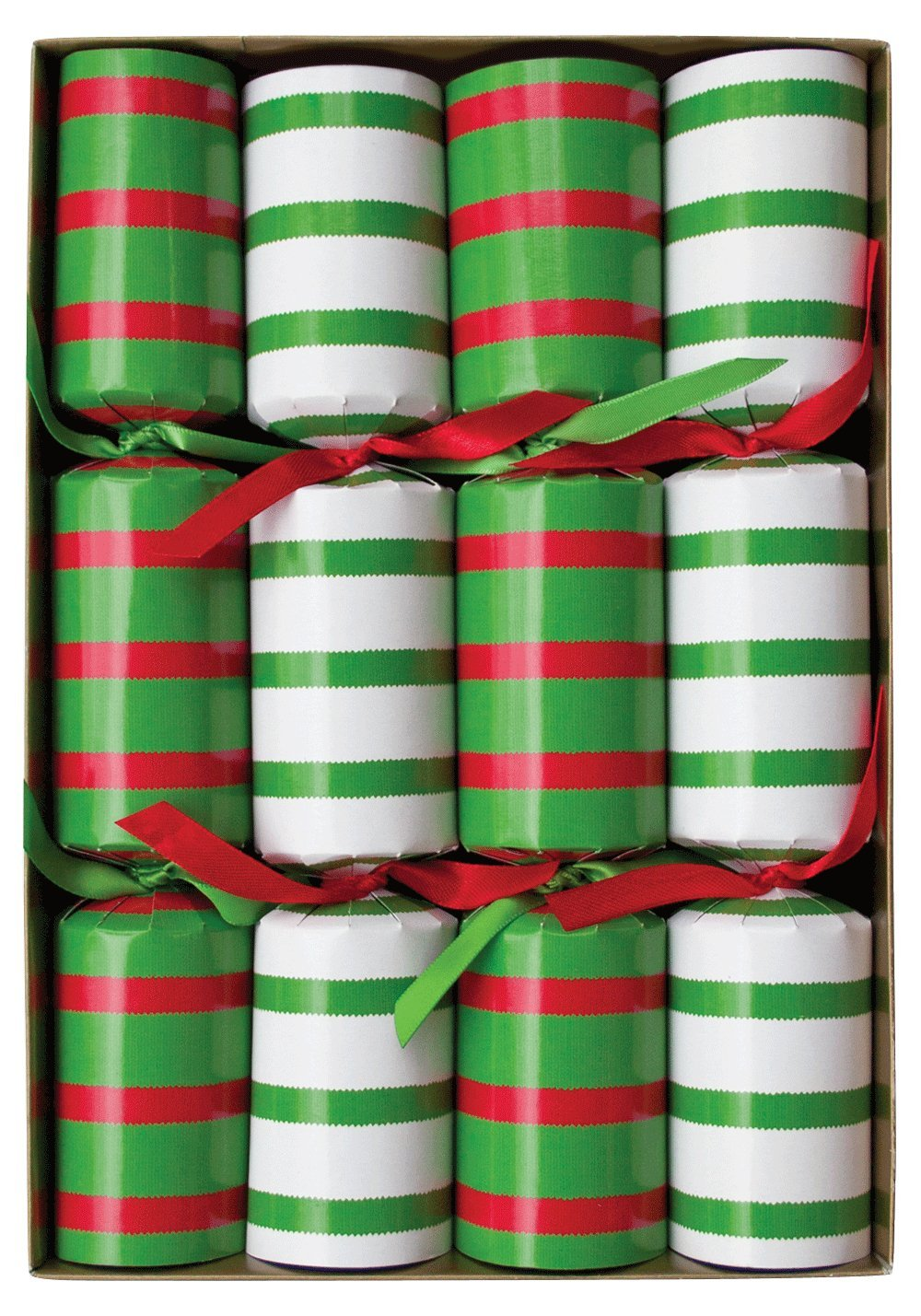 Caspari Celebration Crackers, 10-Inch, Bretagne Red and Green CK031.10