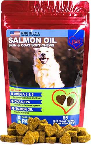 Particular Paws Salmon Oil for Dogs – Treats – All-Natural Omega 3 6, DHA, EPA and Fish – Supports Immune System, Heart Health and Shiny Coat