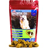 Salmon Oil for Dogs - Treats - All-Natural Omega 3 6, DHA, EPA and Fish - Supports Immune System, Heart Health and Shiny Coat - 65 Soft Chews