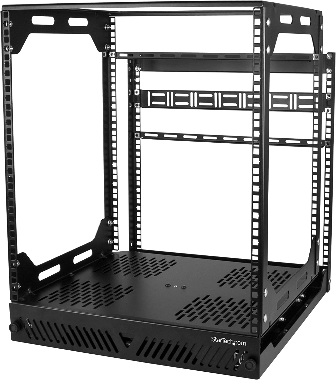 "StarTech.com 12U Sliding Rotating Open Frame Network Rack - 4 Post AV /Data Rack - 16.7"" Deep Slide-Out IT Equipment Rack w/Cable Management Pull Out/Pivoting Computer/Communications Rack (PORACK12U)"