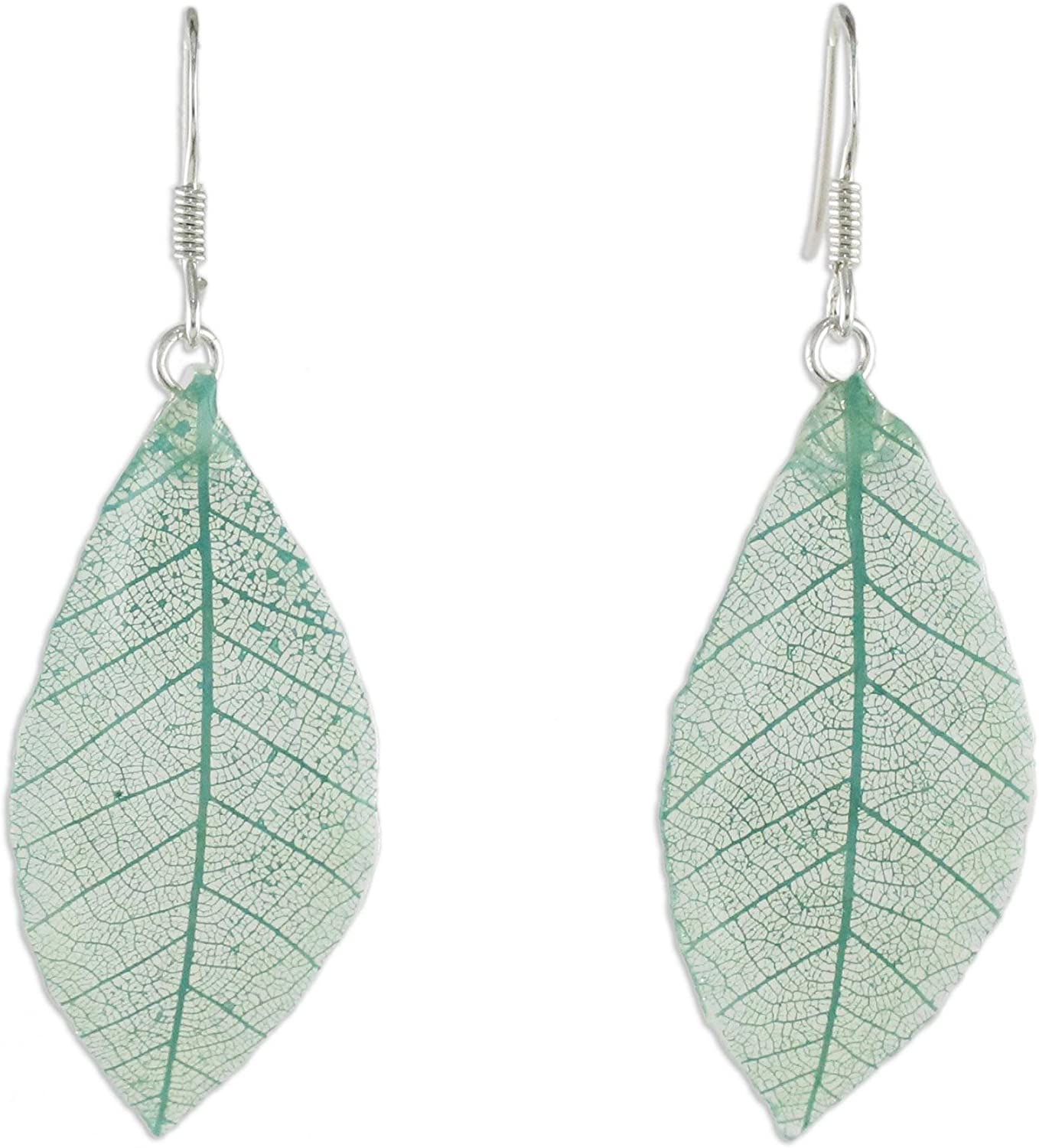 NOVICA Natural Leaf .925 Sterling Silver Dangle Earrings 'Stunning Nature in Jade'