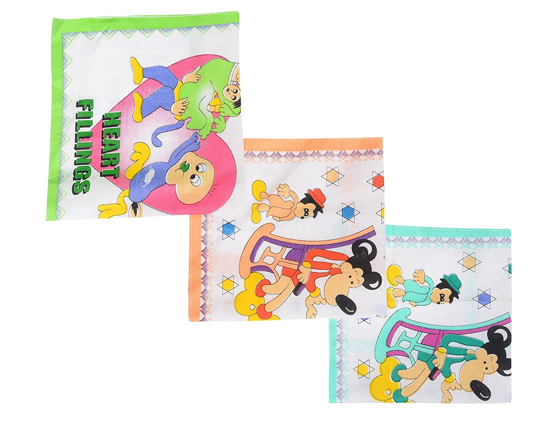 Devil Boy's|Girl's Vintage Multi Cartoon Printed Kids Cotton Handkerchiefs(pack of 3)