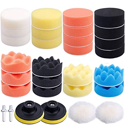 Augshy 31 Pcs Car Foam Drill Polishing Pad Kit, 3 Inch Buffing Pads,Sponge Set Kit M10 Drill Adapter Car Polisher: Automotive
