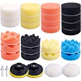 Augshy 31 Pcs Car Foam Drill Polishing Pad Kit, 3 Inch Buffing Pads,Sponge Set Kit M10 Drill Adapter Car Polisher