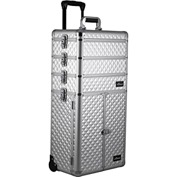 af9f6dbf7a24 Amazon.com   Sunrise Colonne 2-In-1 Rolling Makeup Case Professional Nail  Travel Organizer Box