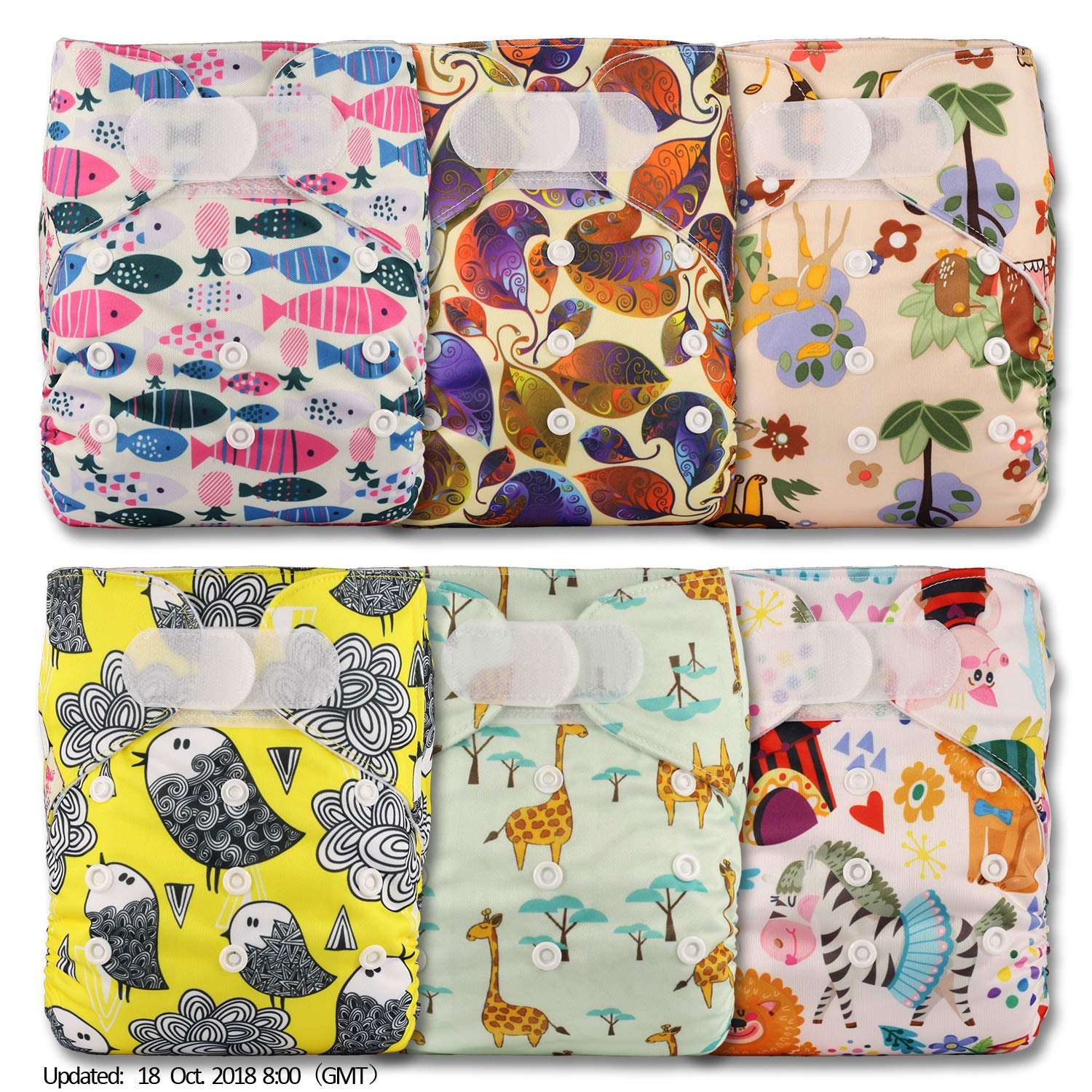 Littles & Bloomz, Reusable Pocket Cloth Nappy, Fastener: Hook-Loop, Set of 6, Patterns 608, With 6 Bamboo Inserts