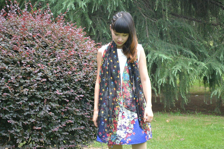DIDIDD Bufanda floral de la bufanda del jardín de Bali Pequeño hilado de Suihua Sun cientos flores d...