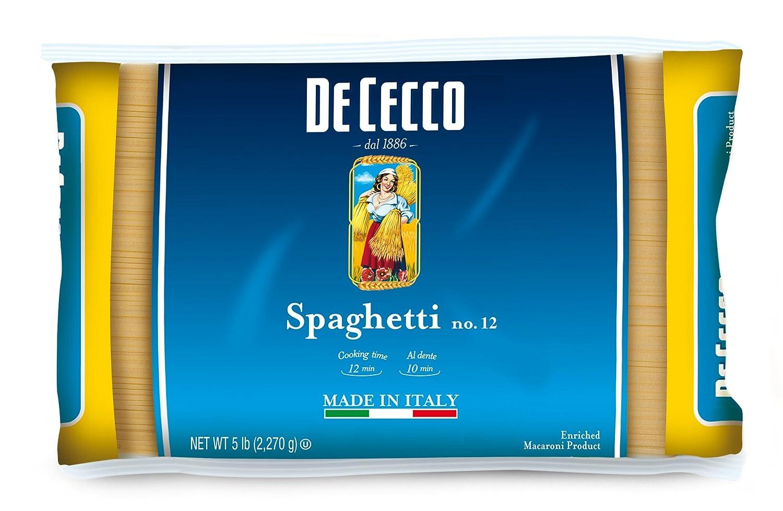 De Cecco Pasta, Spaghetti, No.12, 5 Pound (Pack of 4)