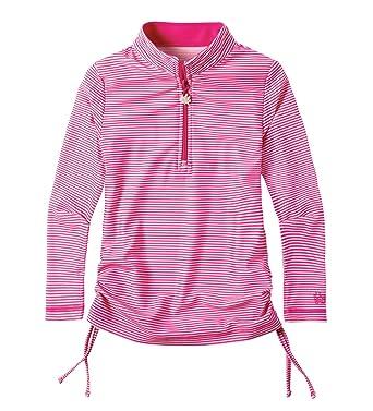 13b4f070 UV SKINZ UPF 50+ Girls Half Zip Ruched Sun & Swim Shirt - Bubblegum Stripes
