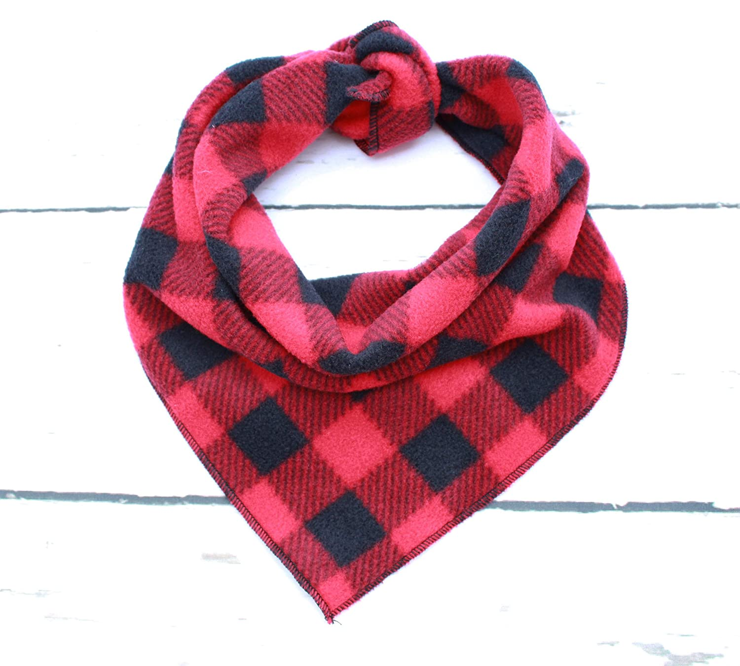 Small//Medium One Size Pet Pooch Boutique Red /& Black Check Fleece Bandana for Dog