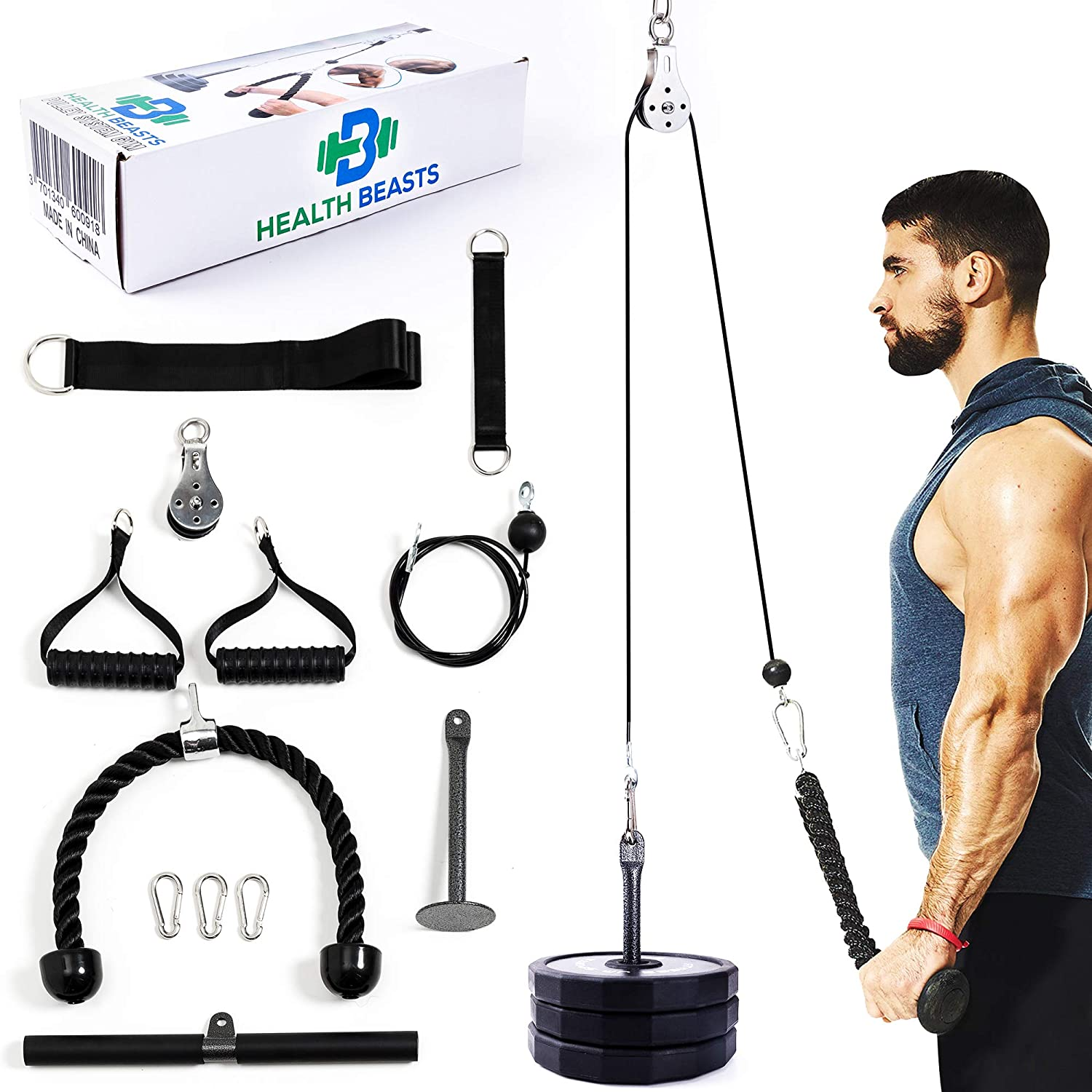 Health Beasts Upgraded LAT Pull Down Bar Cable Pulley -Workout Pulley System Gym - Home Gym Equipment