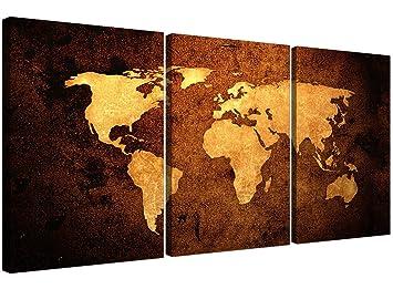 Amazon.de: Wallfillers 3188 Weltkarte auf Leinwand, 3-teilig, für ...