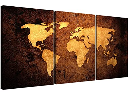 Wallfillers vintage world map canvas wall art set of 3 for your wallfillers vintage world map canvas wall art set of 3 for your bedroom affordable canvas gumiabroncs Images