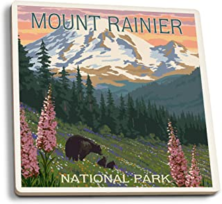 product image for Lantern Press Mount Rainier National Park, Washington - Bear and Cubs with Flowers (Set of 4 Ceramic Coasters - Cork-Backed, Absorbent)
