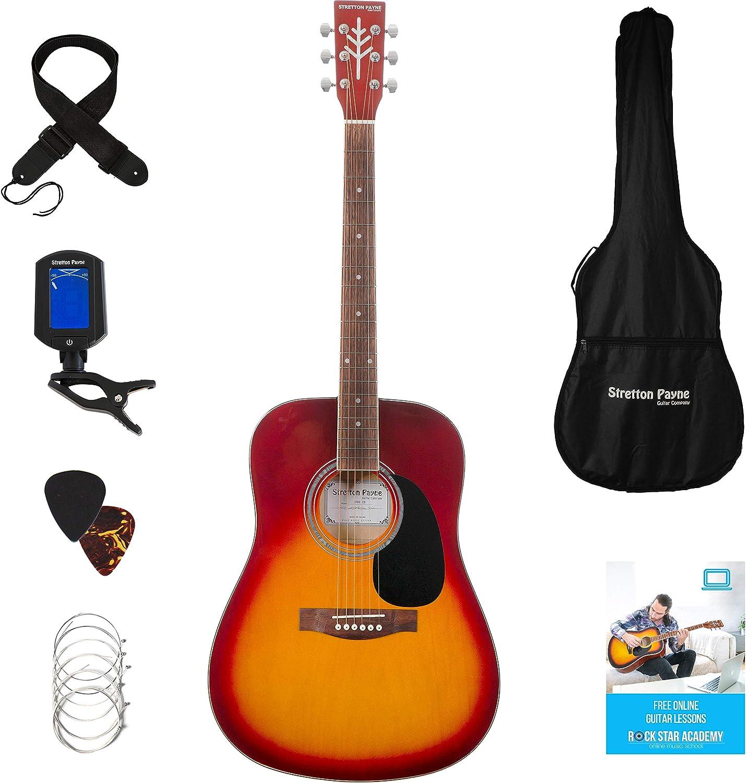 Guitarra acústica Stretton Payne Dreadnought, con cuerdas de acero de tamaño completo, D1, Cherry Burst