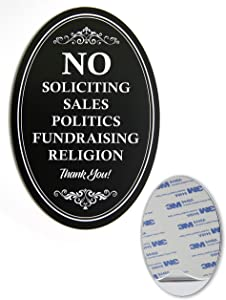 No Soliciting Sign for Door | Metal with Sticker Oval 6