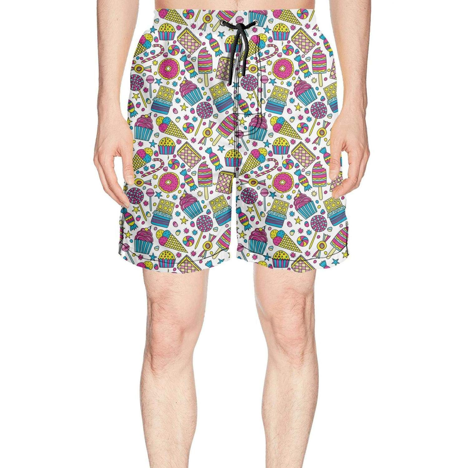 Mens Candies and Ice Cream in Doodle Style Summer Quick Dry Volley Beach Shorts Fashion Swim Trunks