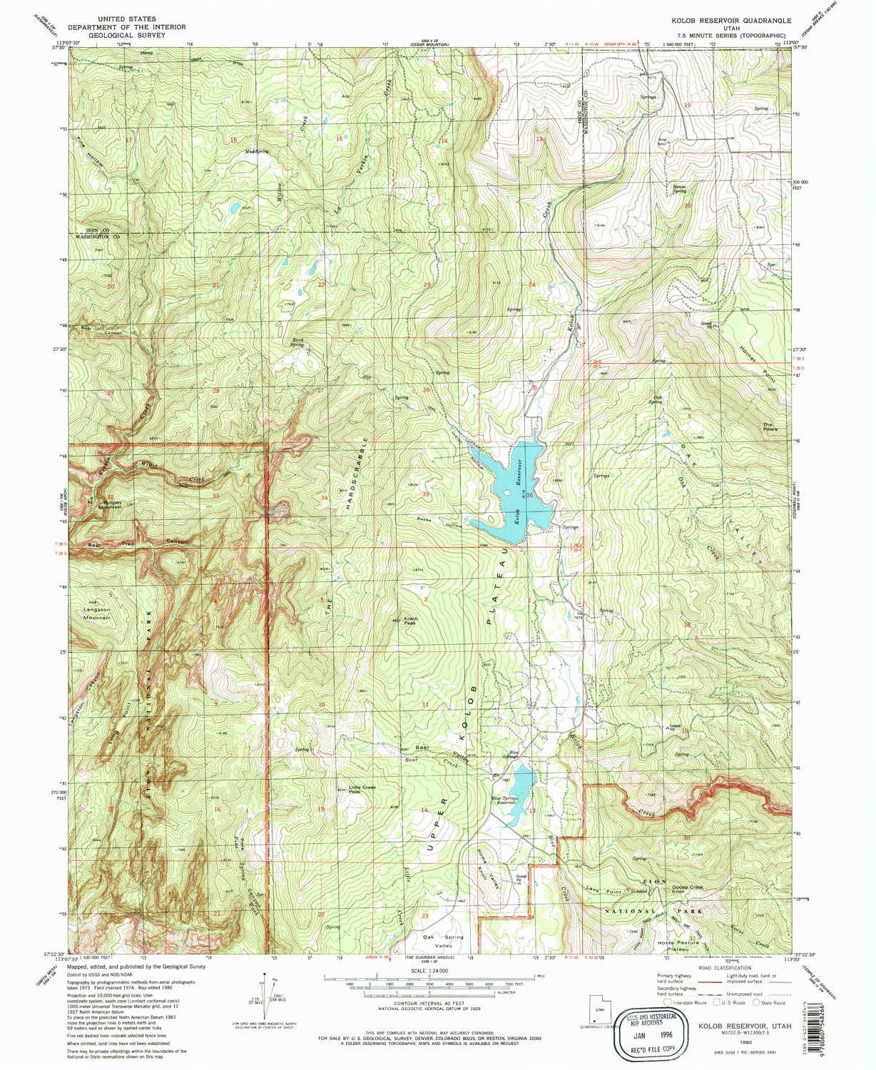 Amazoncom Yellowmaps Kolob Reservoir Ut Topo Map 124000 Scale - Us-geodetic-maps