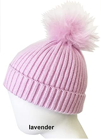 b73840ad98fdd Linda Richards Luxury Children s Knit Genuine Fur Pom Pom Hat - Light  Lavender