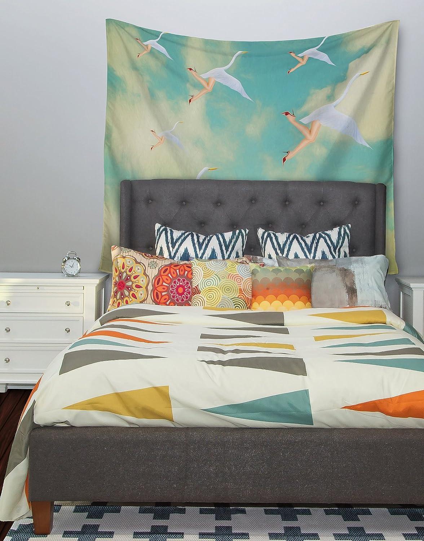 Kess InHouse Natt Swan Teal Yellow Wall Tapestry 68 X 80