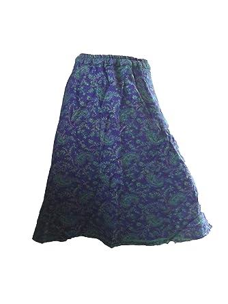Akshat Ghildiyal Falda 3/4 de Lana con Goma en la Cintura (Azul ...