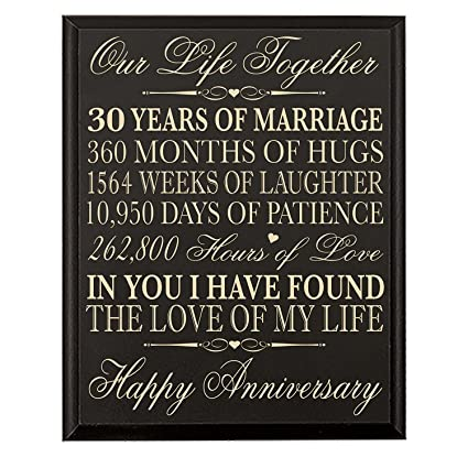 30 Years Wedding Anniversary Gifts.Lifesong Milestones 30th Anniversary Gift For Couple Parents 30 Year Anniversary Gifts Ideas Wall Plaque 12 X 15 By Black