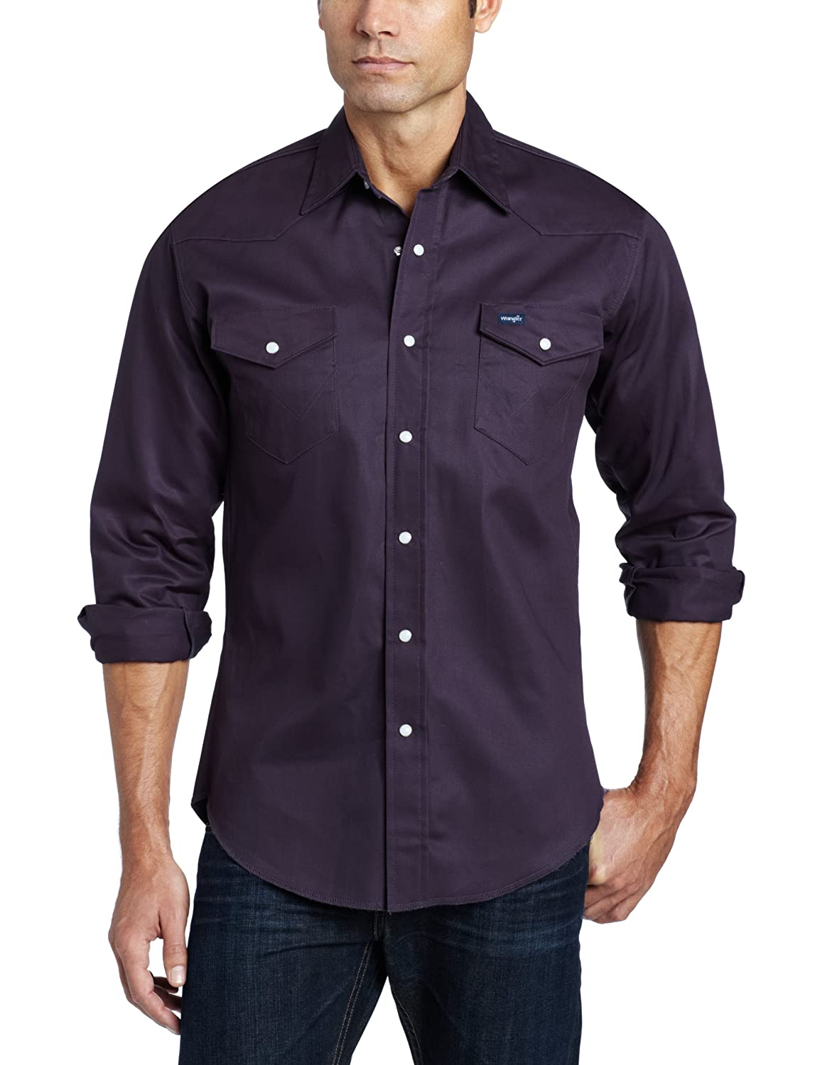 a40ae989 Wrangler Men's Authentic Cowboy Cut Work Western Long-Sleeve Shirt at  Amazon Men's Clothing store: Athletic Shirts