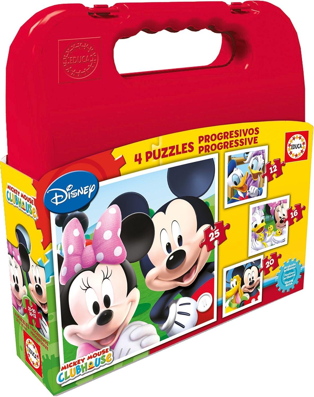 Educa Borrás Disney - Maleta con Puzzles progresivos Mickey Mouse, 12-16-20-25 16505.0 borras educa borras educaborras peces