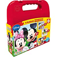 Educa Borrás Disney - Maleta con Puzzles progresivos Mickey Mouse, 12-16-20-25 16505.0