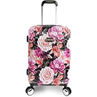 """BEBE Women's Marie 21"""" Hardside Carry-on Spinner Luggage, Black Floral Print"""