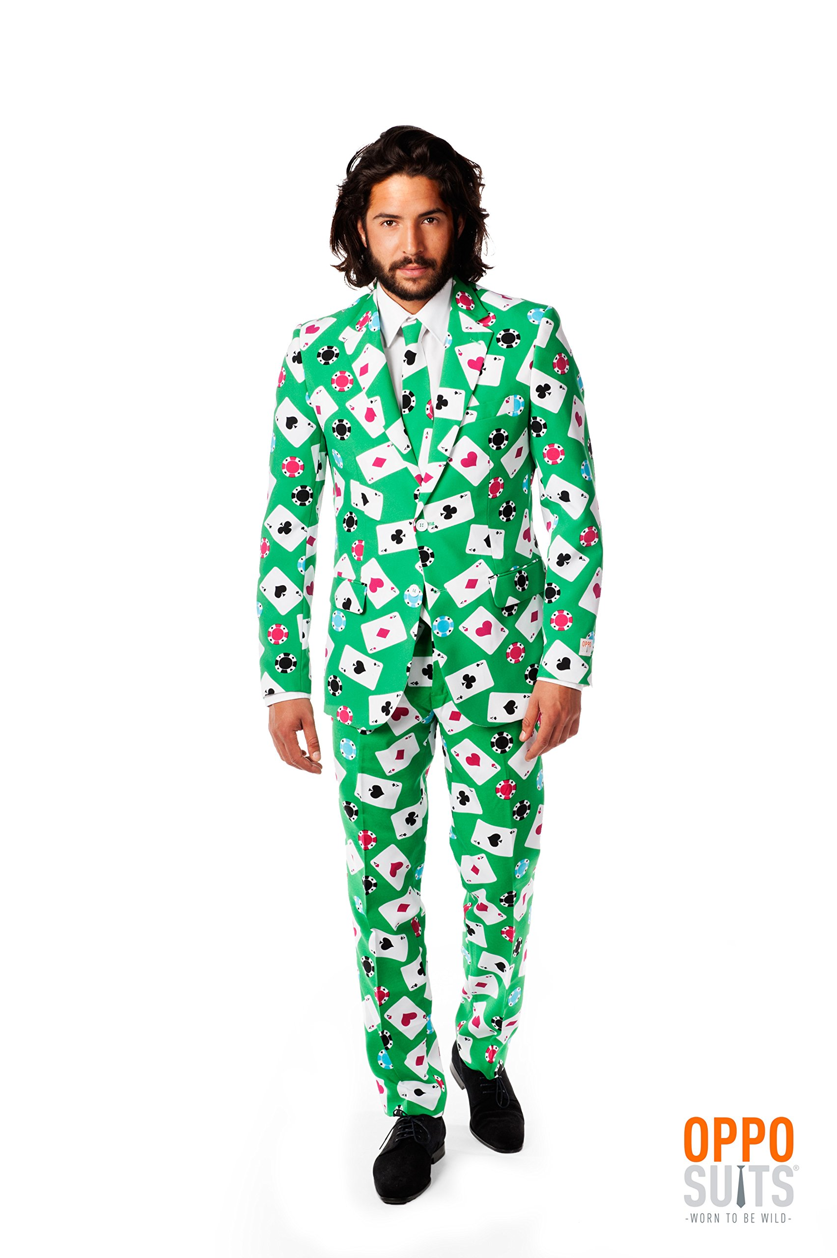 OppoSuits Men's Poker Face Party Costume Suit, Mixed, 44