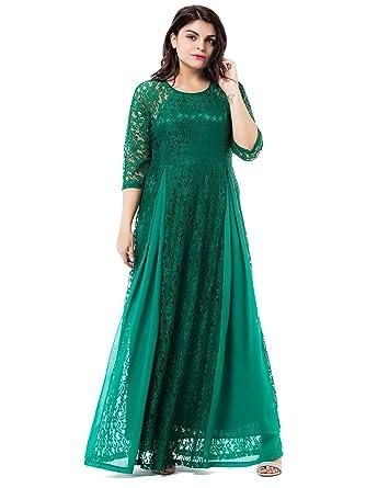 313489cec8 ESPRLIA Women s Plus Size Floral Lace 3 4 Sleeve Wedding Maxi Dress ...