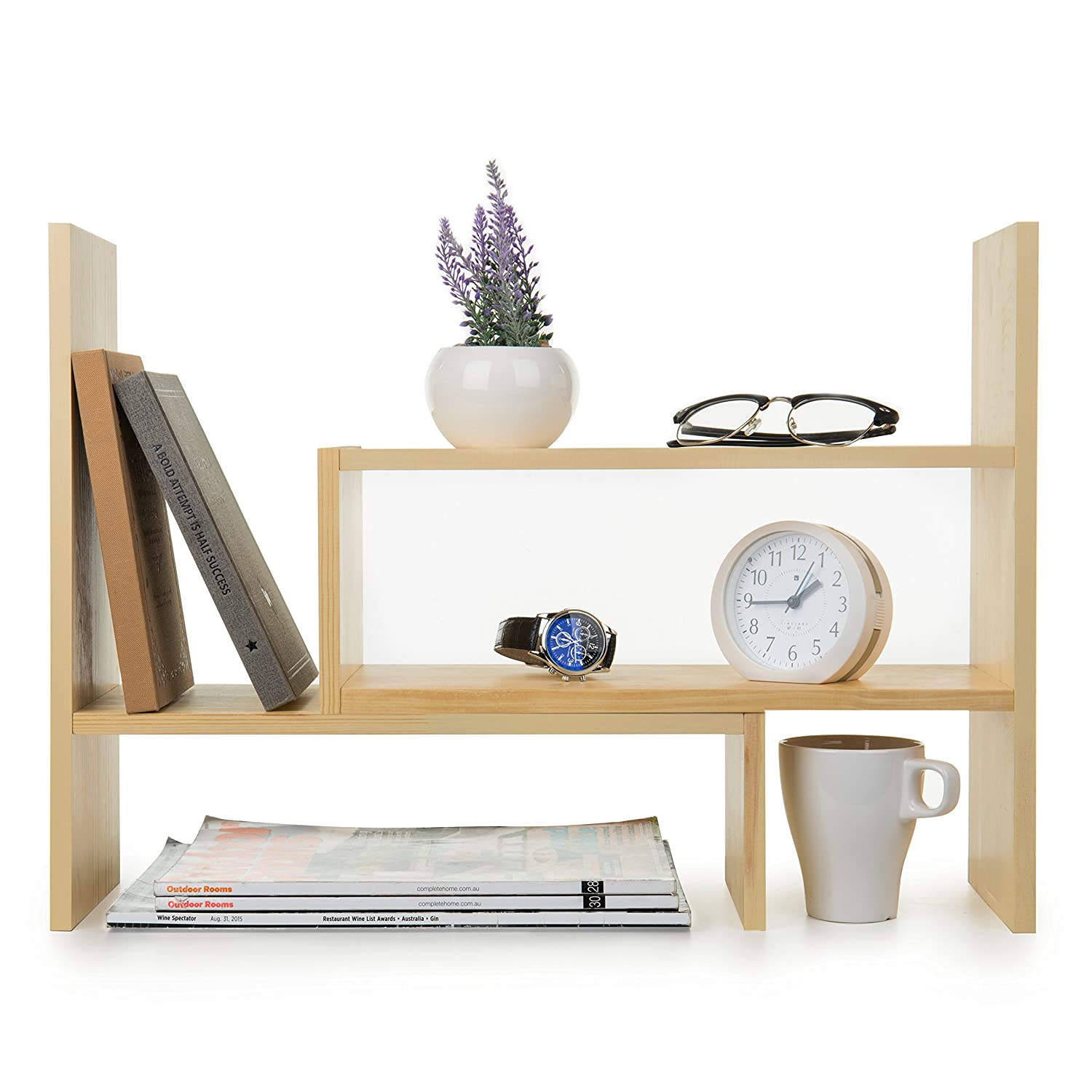 Adjustable Natural Wood Desktop Storage Organizer Display Shelf Rack, Counter Top Bookcase, Beige