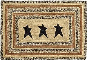VHC Brands 10127 Primitive Flooring Prim Grove Star Jute Stenciled Rectangle 24x36 Rug