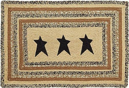 VHC Brands 10127 Primitive Flooring Prim Grove Star Jute Stenciled Rectangle 24×36 Rug