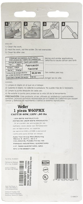 Weller W60P 60Watts/120V Controlled Output Soldering Iron: Amazon.es: Bricolaje y herramientas