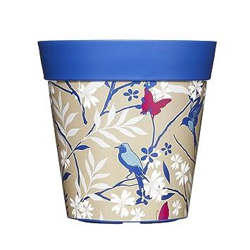 22cm Blumentopf Pflanzkübel in Blau Vogel & Schmetterling Design aus ...