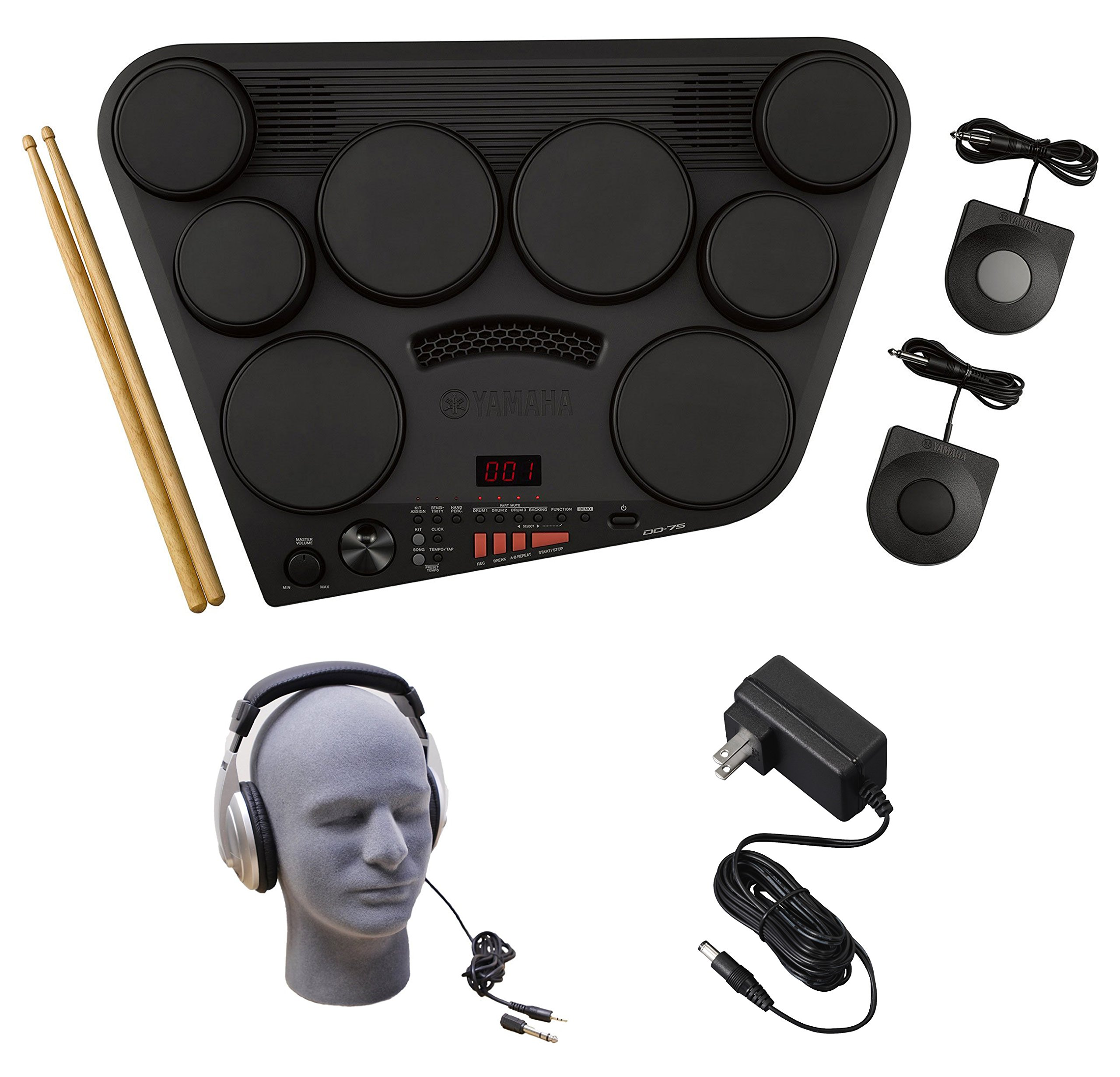 Yamaha DD-75 Portable Digital Drums Package with Headphones & Power Supply by YAMAHA