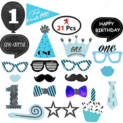 Party Propz Boys 1St Birthday Photobooth Props (20 Pieces) for Boys 1St  Birthday Decoration