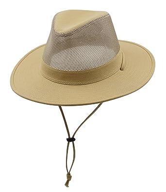 ... special section 24055 9b829 Connectyle Outdoor Mens Mesh Outback Panama  Hat Cotton Wide Brim Breezer Sun ... e412699cf03