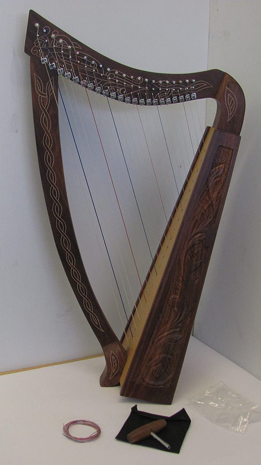 Harp 22 Strings with Hand Engraved With free Tuning Key, Carrying Case and Extra Strings Royal 22L