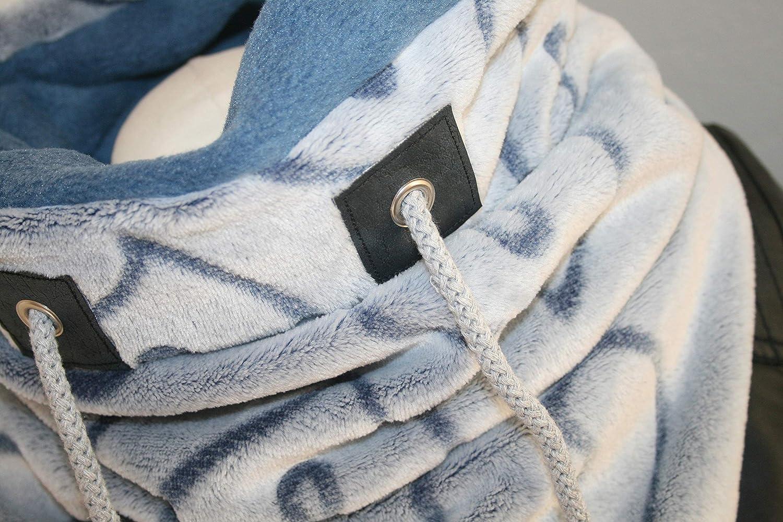 Dreieck-Schlupfschal UnikatHerz Herzchen blau-grau warm gef/üttert